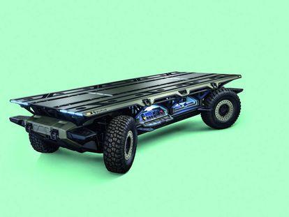 La plataforma móvil todoterreno SURUS, de General Motors, es capaz de transportar cualquier estructura de manera autónoma.