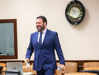 El diputado de EH Bildu, Jon Iñarritu, en la comisión de Interior del Congreso el pasado 23 de abril.