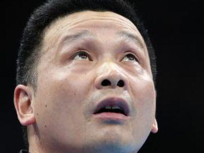 He Zhi Wen, Juanito, durante el partido de ayer