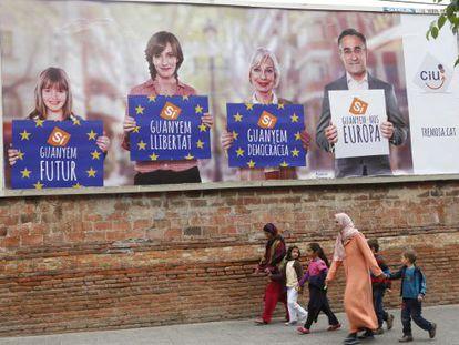 Propaganda electoral de CiU, en Terrassa.