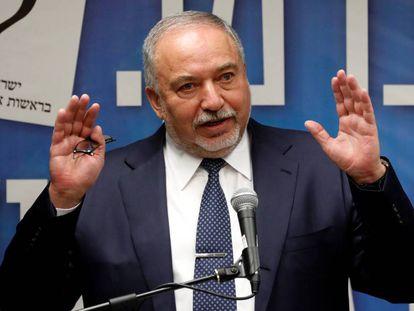 El líder derechista israelí Avigdor Lieberman, el lunes en Jerusalén.