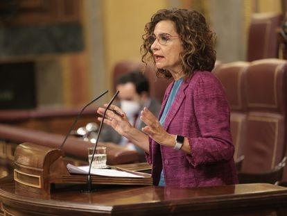 La ministra de Hacienda y Función Pública, María Jesús Montero, el mes pasado en el Congreso.