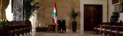 El presidente de Líbano, Michel Aoun, en el palacio de Baabda de Beirut.