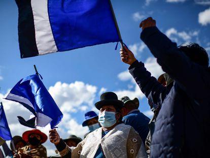 Seguidores del MAS celebran en El Alto la victoria de Luis Arce, el pasado 19 de octubre.