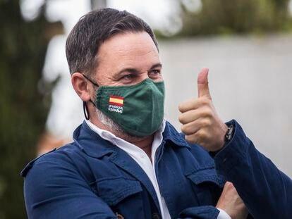 El líder de Vox, Santiago Abascal, en un mitin en Navalcarnero el pasado abril.