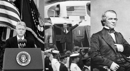 Desde la izquierda, los presidentes de EE UU Bill Clinton, Richard Nixon y Andrew Johnson.