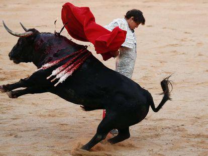 Roca Rey, este miércoles, en la Feria de San Fermín.