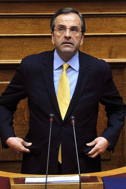 Antonis Samarás, en una intervención ante el Parlamento.
