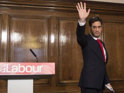Miliband, tras anunciar su dimisión.