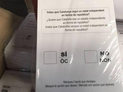 Papeletas del referéndum ilegal intervenidas por la Guardia Civil.