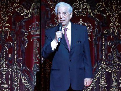 El escritor Mario Vargas Llosa, en el Teatro Real de Madrid.