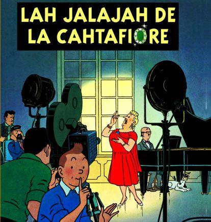 Reproducción de la portada de 'Las joyas de la Castafiore' en su versión en castúo.