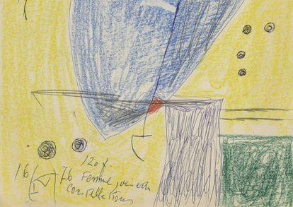 Detalle del dibujo 'Mujer, pájaro, constelación' (1976), de Joan Miró, procedente de los archivos del pintor.