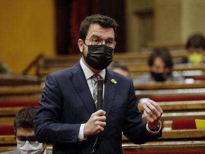 El presidente de la Generalitat Pere Aragonès, en el Parlament este miércoles.