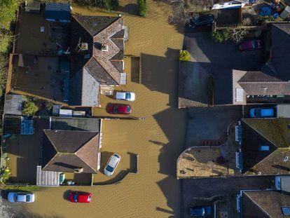 Vista aérea de las inundaciones de este lunes en Hereford