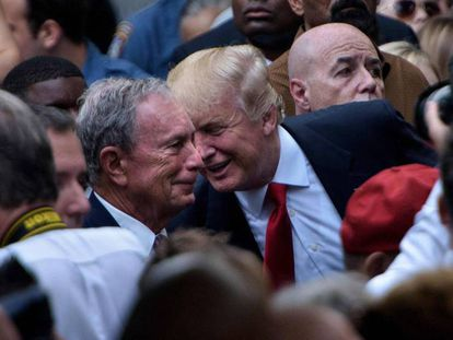 """Michael Bloomberg y Donald Trump, en una imagen de archivo de 2016. En vídeo, Sanders se dirige a Bloomberg en el mitin del viernes en Nevada: """"No puede comprar la presidencia""""."""
