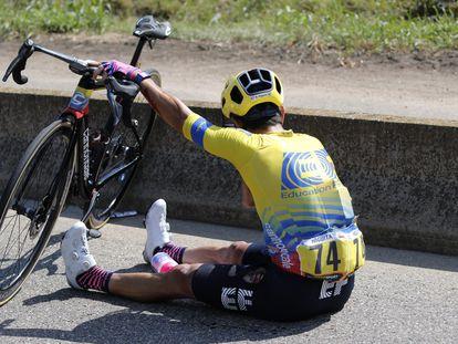 Higuita, nada más sufrir la caída en el Tour este domingo.
