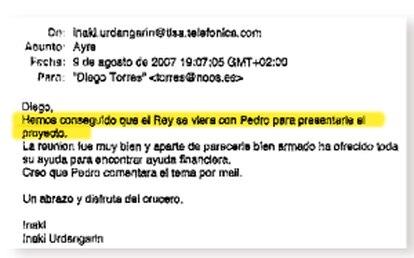Correos electrónicos que el abogado de Diego Torres entregó en el juzgado y que han sido incorporados al sumario del caso.