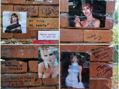 Mensajes que los seguidores de La Veneno han dejado en el Parque del Oeste días antes del cuarto aniversario de su muerte.