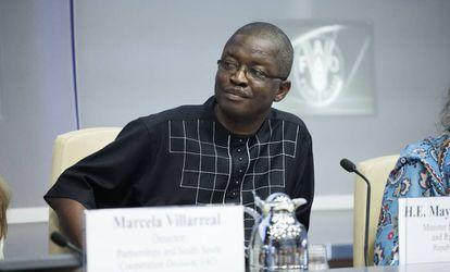 El ministro de Desarrollo Rural de Sierra Leona, Maya Moiwo Kaikai, este martes en la sede de la FAO en Roma (Italia).