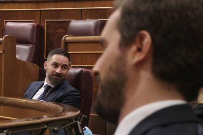 El líder de Vox, Santiago Abascal, y el líder del PP, Pablo Casado, durante el pleno de sesión de control al Gobierno el pasado miércoles.
