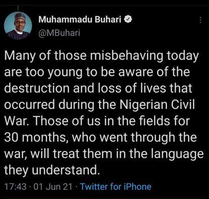 El tuit borrado del presidente de Nigeria, Muhammadu Buhari.