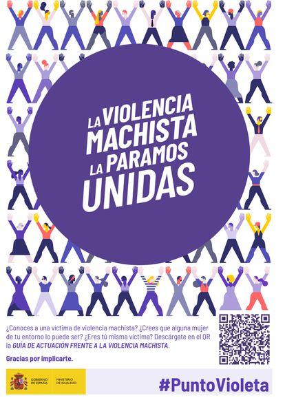 Póster que identifica empresas o empresas adheridas a la iniciativa Puntos Violeta