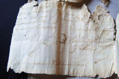 Fragmento de la carta recuperada en Toledo.