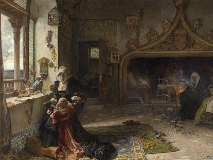 'La reina doña Juana la Loca, recluida en Tordesillas con su hija, la infanta doña Catalina', de Francisco Pradilla y Ortiz, óleo de 1906.