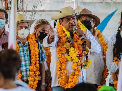 Félix Salgado Macedonio, este miércoles en un mitin en Acapulco.