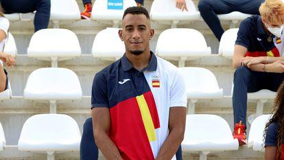 Orlando Ortega, el 22 de julio, en el acto de despedida de la selección española en Madrid.