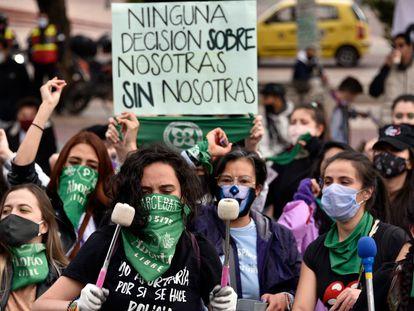 Una protesta a favor del aborto legal en Bogotá, Colombia, en septiembre pasado.
