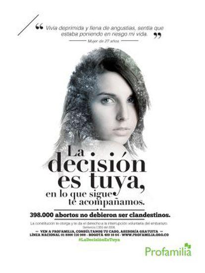 Afiche de la campaña 'La Decisión es tuya' que ha desatado polémica.