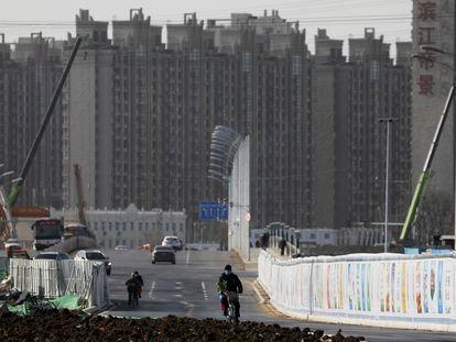 Construcción de edificios residenciales en Pekín.