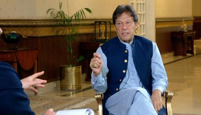 Pakistani Prime Minister Imran Khan during his Axios interview.
