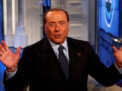 El ex primer ministro de Italia Silvio Berlusconi, este miércoles, durante una comparecencia en televisión.