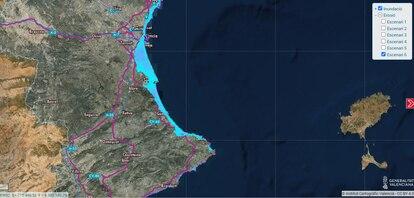 Captura del visor cartográfico del impacto del cambio climático en su peor escenario en una parte de la costa valenciana.