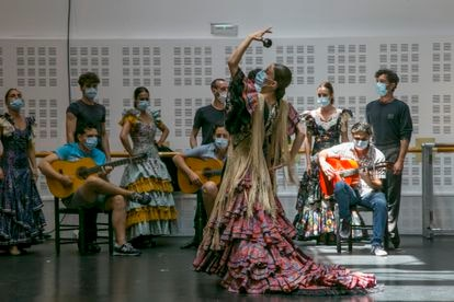 Rehearsal of the play 'La Bella Otero', choreographed and directed by Rubén Olmo, at the headquarters of the Spanish National Ballet at the Matadero in Madrid.