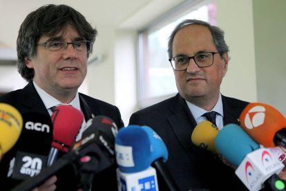 El president Quim Torra i l'expresident Carles Puigdemont.