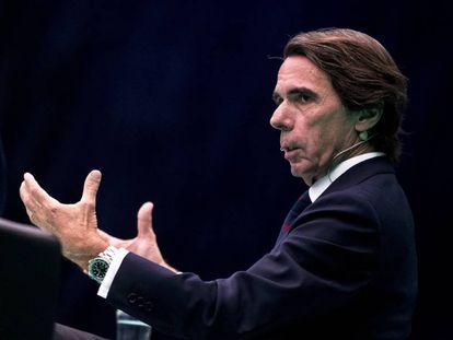 José María Aznar en una conferencia en Madrid el pasado 17 de julio.
