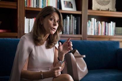 La vicepresidenta y canciller de Colombia Marta Lucía Ramírez, durante la entrevista en la embajada de Colombia en Madrid este martes