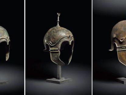 Los cascos de origen celtíbero subastados en Christie' s en 2012.