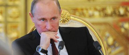 El presidente ruso, Vladímir Putin, ayer en Moscú.