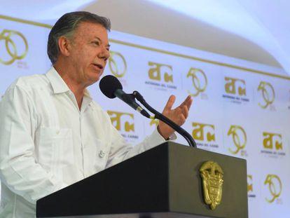 El presidente Juan Manuel Santos durante su discurso en Barranquilla este viernes.