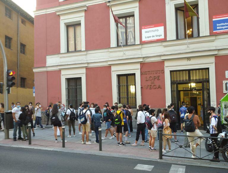 Instituto Lope de Vega, en Madrid, este miércoles.