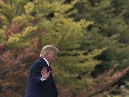 El presidente Donald Trump llegando a la Casa Blanca.