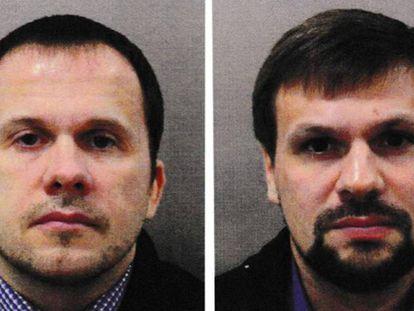 Los dos ciudadanos rusos acusados del intento de asesinato del exespía Serguei Skripal y su hija Yulia en Salisbury.