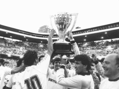 El Real Madrid se hizo con el título de la temporada 1986/87, la última que tuvo 18 participantes.