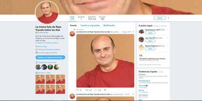 @viyuelaeveryday publica la misma foto todos los días, supera los 10.000 seguidores y la imagen es retuiteada por cientos de usuarios.