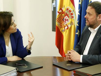 Soraya Sáez de Santamaría y Oriol Junqueras, este jueves.